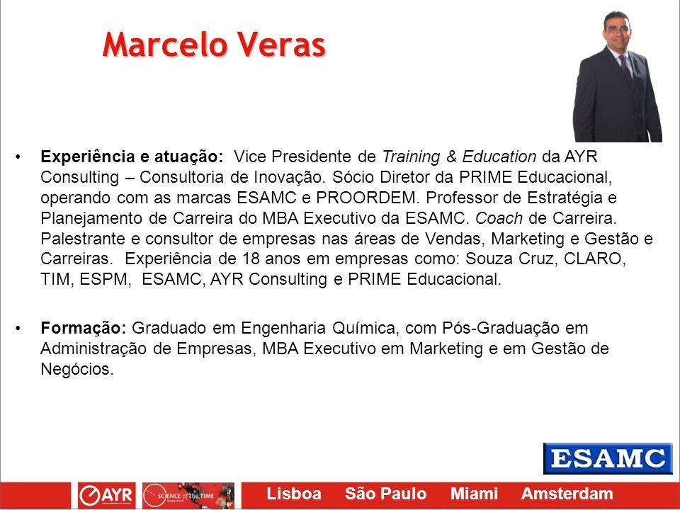 Lisboa São Paulo Miami Amsterdam Marcelo Veras Experiência e atuação: Vice Presidente de Training & Education da AYR Consulting – Consultoria de Inova