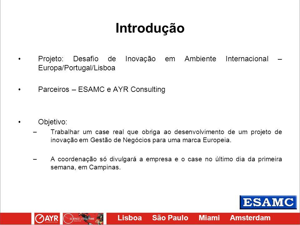 Lisboa São Paulo Miami Amsterdam Introdução Projeto: Desafio de Inovação em Ambiente Internacional – Europa/Portugal/Lisboa Parceiros – ESAMC e AYR Co