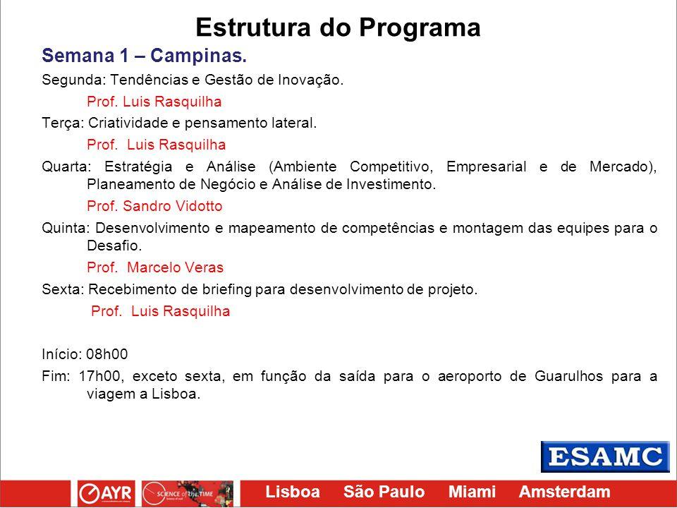 Lisboa São Paulo Miami Amsterdam Estrutura do Programa Semana 1 – Campinas. Segunda: Tendências e Gestão de Inovação. Prof. Luis Rasquilha Terça: Cria