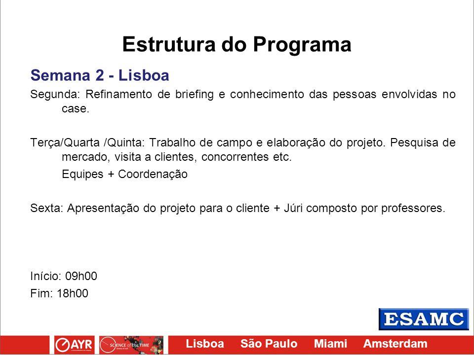 Lisboa São Paulo Miami Amsterdam Estrutura do Programa Semana 2 - Lisboa Segunda: Refinamento de briefing e conhecimento das pessoas envolvidas no cas