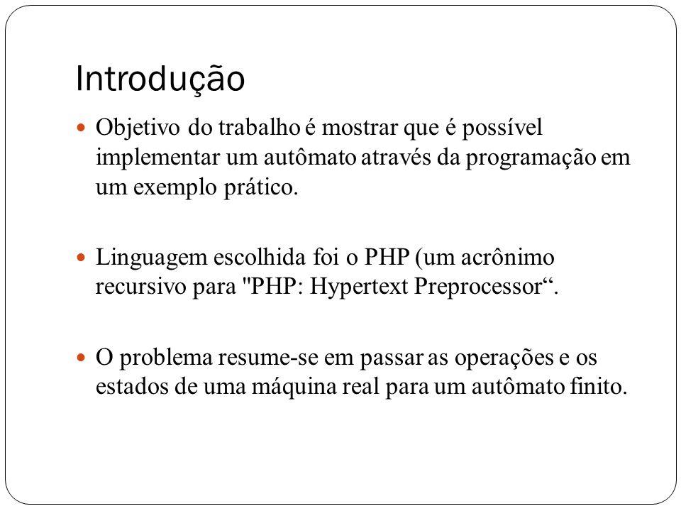 Introdução Objetivo do trabalho é mostrar que é possível implementar um autômato através da programação em um exemplo prático.