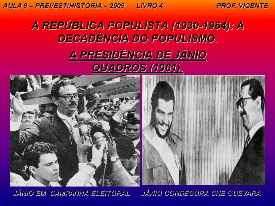 1 A REPÚBLICA POPULISTA (1930-1964): A DECADÊNCIA DO POPULISMO. A PRESIDÊNCIA DE JÂNIO QUADROS (1961). AULA 9 – PREVEST/HISTÓRIA – 2009 LIVRO 4 PROF.