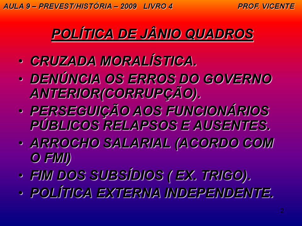 2 POLÍTICA DE JÂNIO QUADROS CRUZADA MORALÍSTICA.CRUZADA MORALÍSTICA. DENÚNCIA OS ERROS DO GOVERNO ANTERIOR(CORRUPÇÃO).DENÚNCIA OS ERROS DO GOVERNO ANT