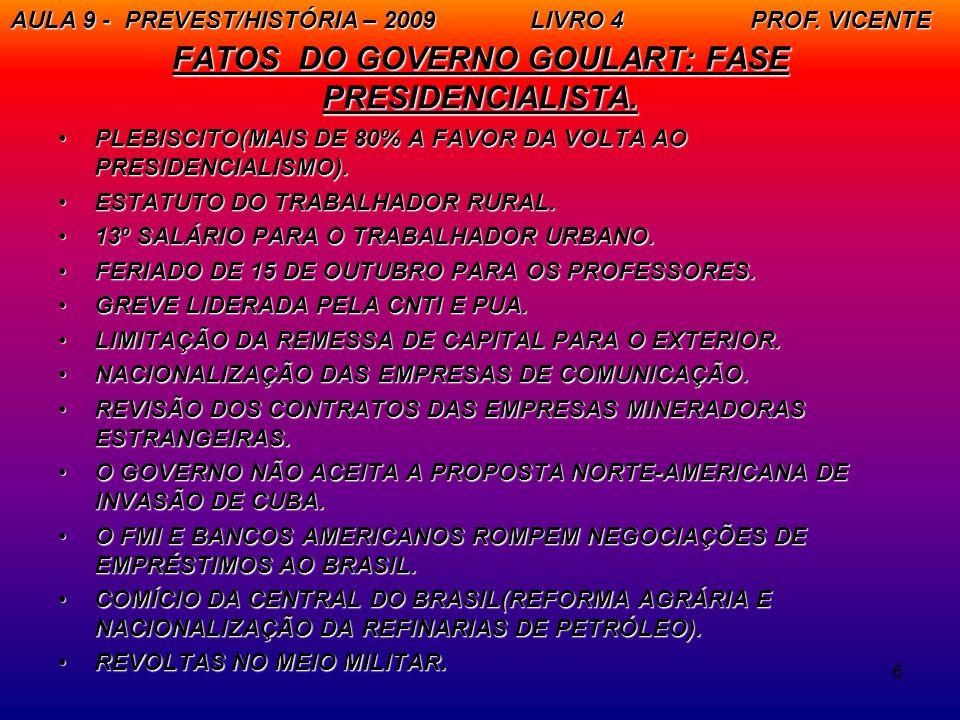 6 FATOS DO GOVERNO GOULART: FASE PRESIDENCIALISTA. PLEBISCITO(MAIS DE 80% A FAVOR DA VOLTA AO PRESIDENCIALISMO).PLEBISCITO(MAIS DE 80% A FAVOR DA VOLT