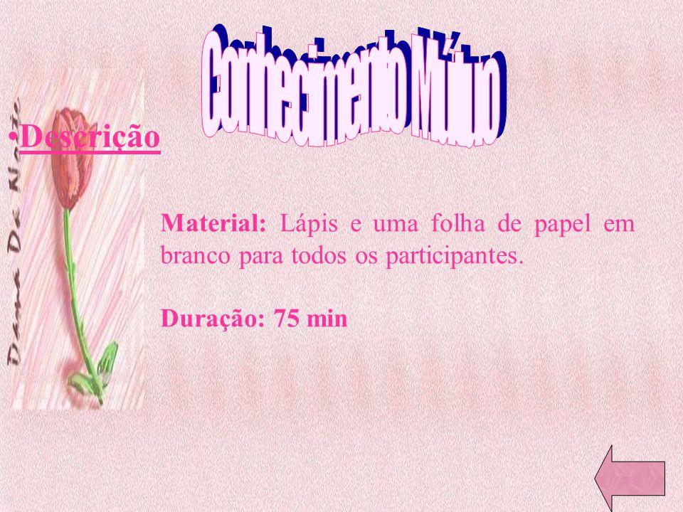 Descrição Material: Lápis e uma folha de papel em branco para todos os participantes. Duração: 75 min