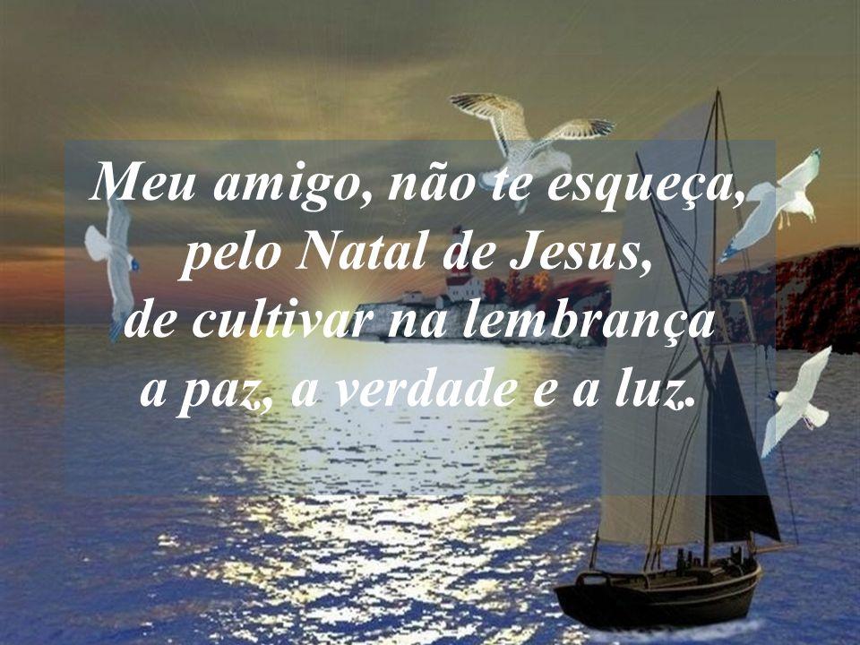 Meu amigo, não te esqueça, pelo Natal de Jesus, de cultivar na lembrança a paz, a verdade e a luz.