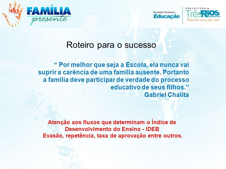 Roteiro para o sucesso Por melhor que seja a Escola, ela nunca vai suprir a carência de uma família ausente.