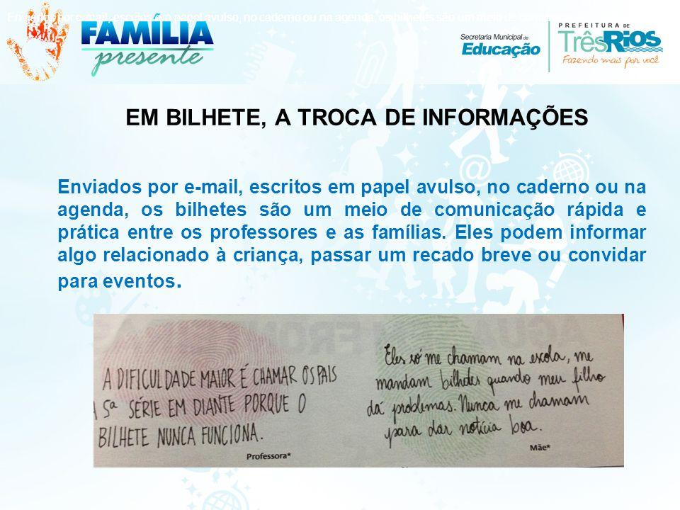 EM BILHETE, A TROCA DE INFORMAÇÕES Enviados por e-mail, escritos em papel avulso, no caderno ou na agenda, os bilhetes são um meio de comunicação rápida e prática entre os professores e as famílias.