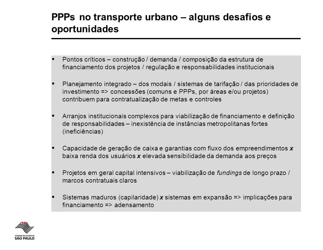 PPPs no transporte urbano – alguns desafios e oportunidades  Pontos críticos – construção / demanda / composição da estrutura de financiamento dos pr