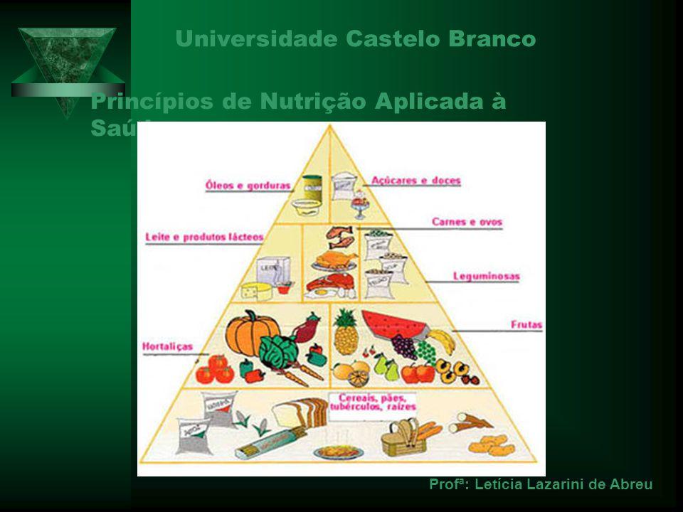 Princípios de Nutrição Aplicada à Saúde Universidade Castelo Branco Profª: Letícia Lazarini de Abreu