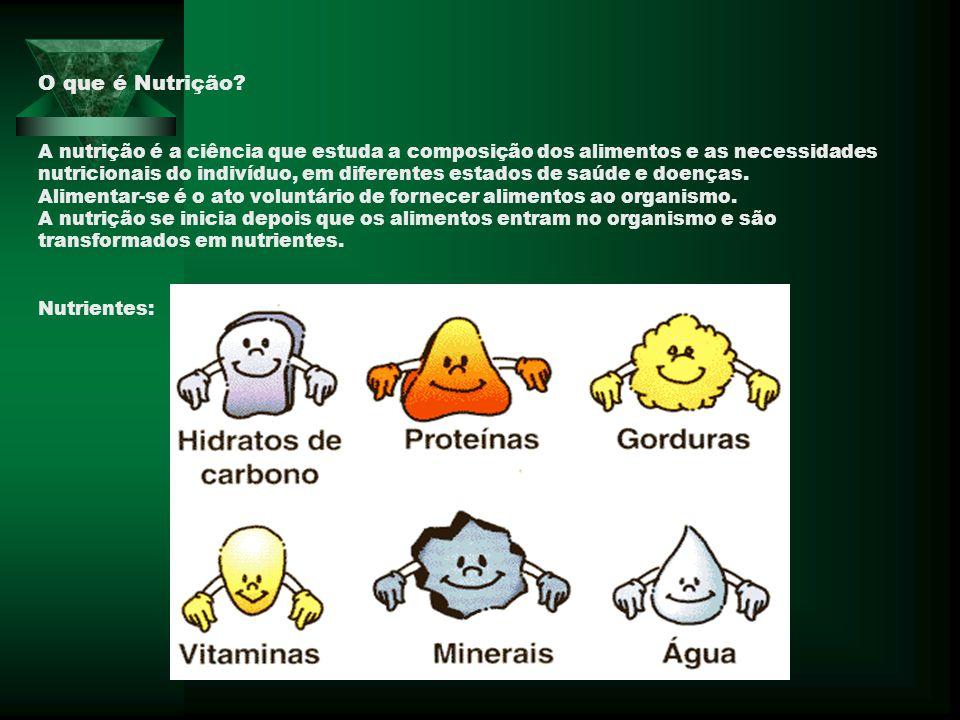 O que é Nutrição? A nutrição é a ciência que estuda a composição dos alimentos e as necessidades nutricionais do indivíduo, em diferentes estados de s