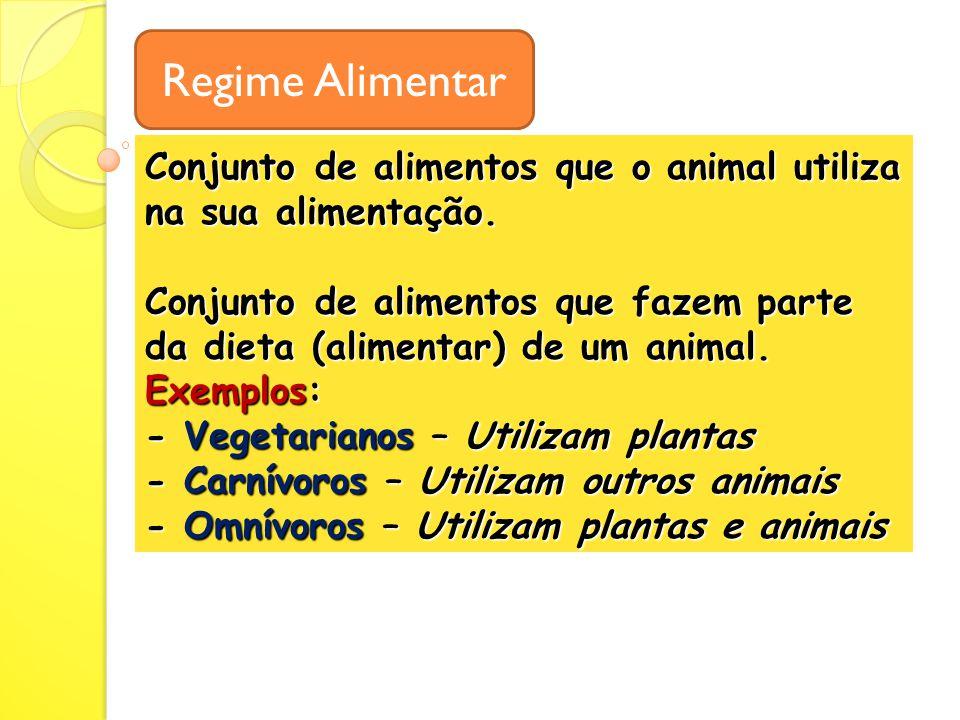 Conjunto de alimentos que o animal utiliza na sua alimentação.