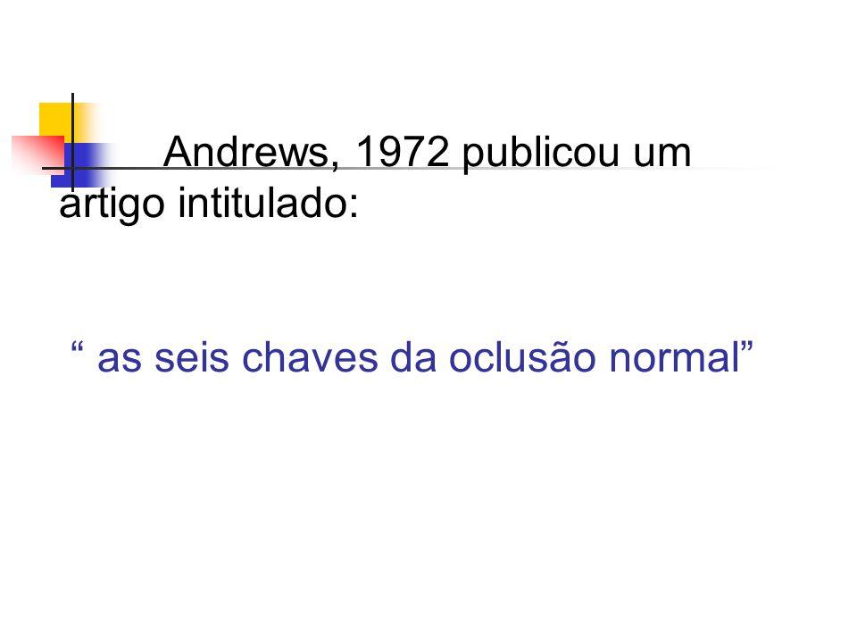 Andrews, 1972 publicou um artigo intitulado: as seis chaves da oclusão normal