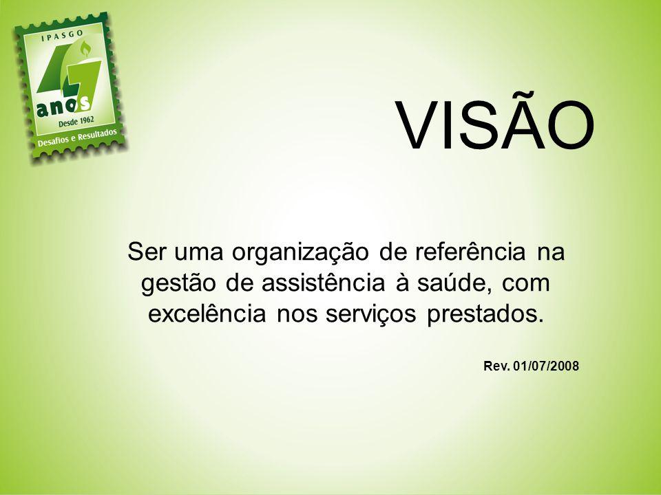 VISÃO Ser uma organização de referência na gestão de assistência à saúde, com excelência nos serviços prestados.