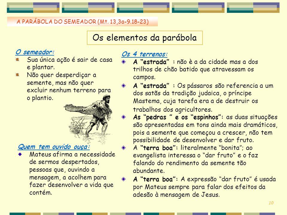 Os elementos da parábola A PARÁBOLA DO SEMEADOR (Mt. 13,3a-9.18-23) O semeador: Sua única ação é sair de casa e plantar. Não quer desperdiçar a sement