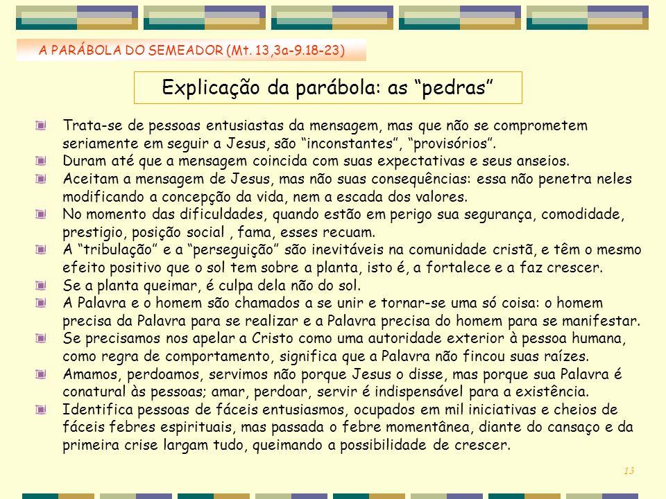 """Explicação da parábola: as """"pedras"""" A PARÁBOLA DO SEMEADOR (Mt. 13,3a-9.18-23) Trata-se de pessoas entusiastas da mensagem, mas que não se comprometem"""