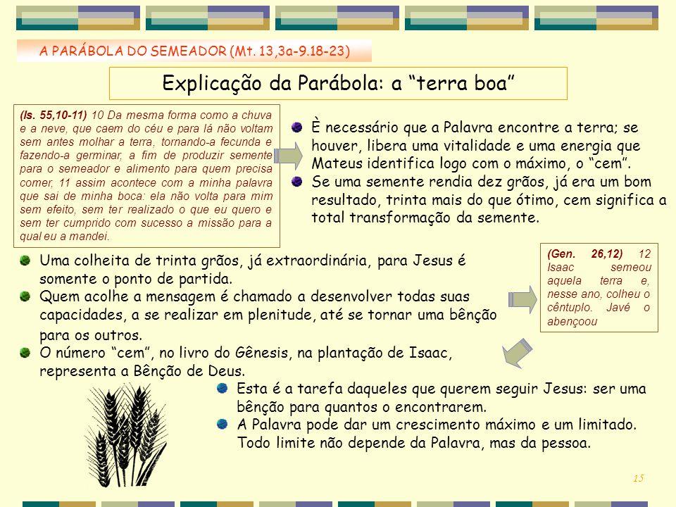 """Explicação da Parábola: a """"terra boa"""" A PARÁBOLA DO SEMEADOR (Mt. 13,3a-9.18-23) È necessário que a Palavra encontre a terra; se houver, libera uma vi"""