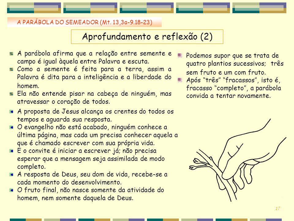 A PARÁBOLA DO SEMEADOR (Mt. 13,3a-9.18-23) Aprofundamento e reflexão (2) A parábola afirma que a relação entre semente e campo é igual àquela entre Pa