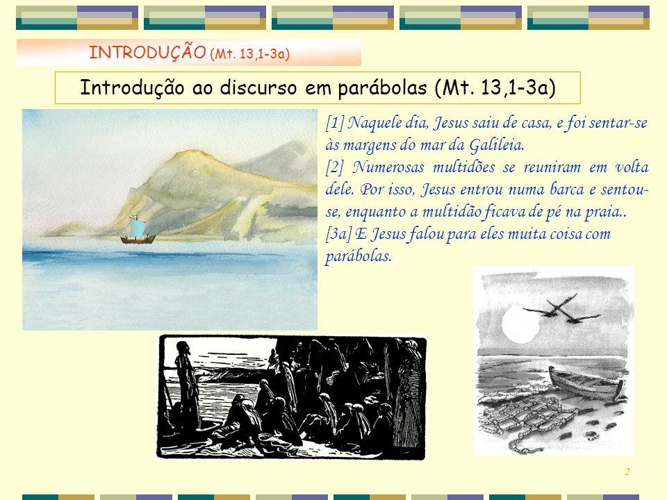 INTRODUÇÃO (Mt. 13,1-3a) [1] Naquele dia, Jesus saiu de casa, e foi sentar-se às margens do mar da Galileia. [2] Numerosas multidões se reuniram em vo