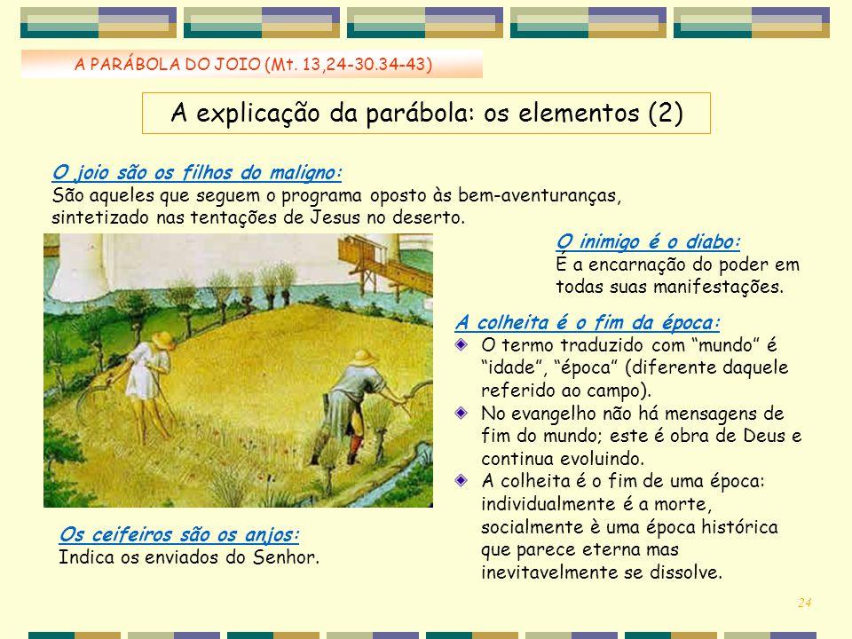 """A PARÁBOLA DO JOIO (Mt. 13,24-30.34-43) A colheita é o fim da época: O termo traduzido com """"mundo"""" é """"idade"""", """"época"""" (diferente daquele referido ao c"""
