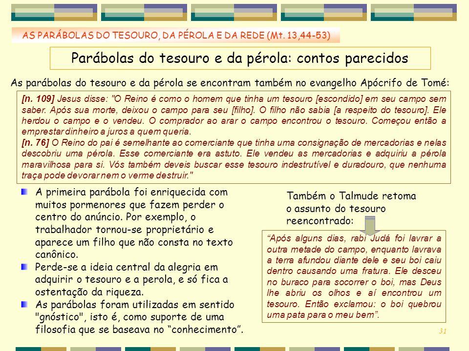 AS PARÁBOLAS DO TESOURO, DA PÉROLA E DA REDE (Mt. 13,44-53) Parábolas do tesouro e da pérola: contos parecidos As parábolas do tesouro e da pérola se