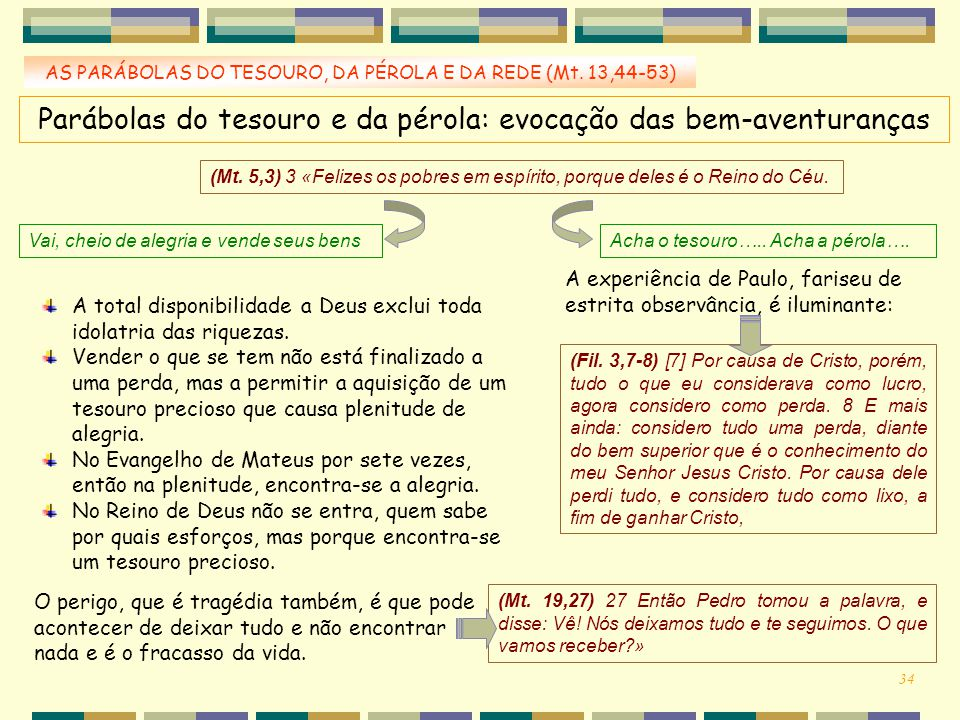 AS PARÁBOLAS DO TESOURO, DA PÉROLA E DA REDE (Mt. 13,44-53) Parábolas do tesouro e da pérola: evocação das bem-aventuranças (Mt. 5,3) 3 «Felizes os po