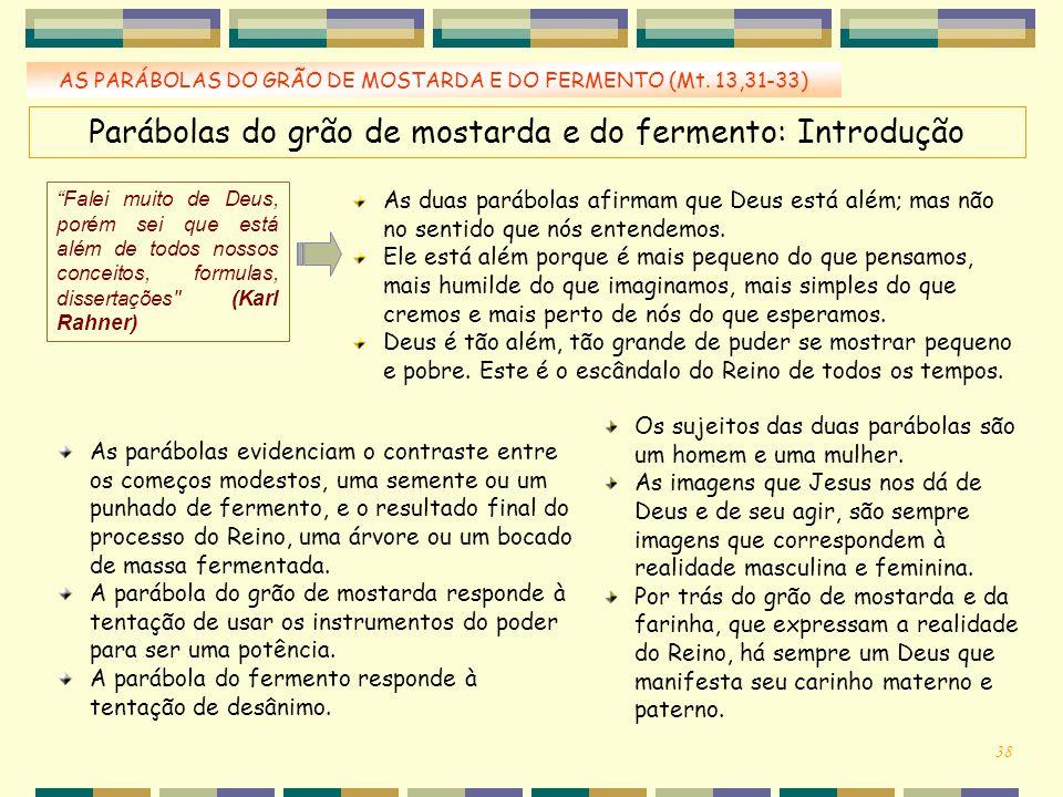 """AS PARÁBOLAS DO GRÃO DE MOSTARDA E DO FERMENTO (Mt. 13,31-33) Parábolas do grão de mostarda e do fermento: Introdução """"Falei muito de Deus, porém sei"""
