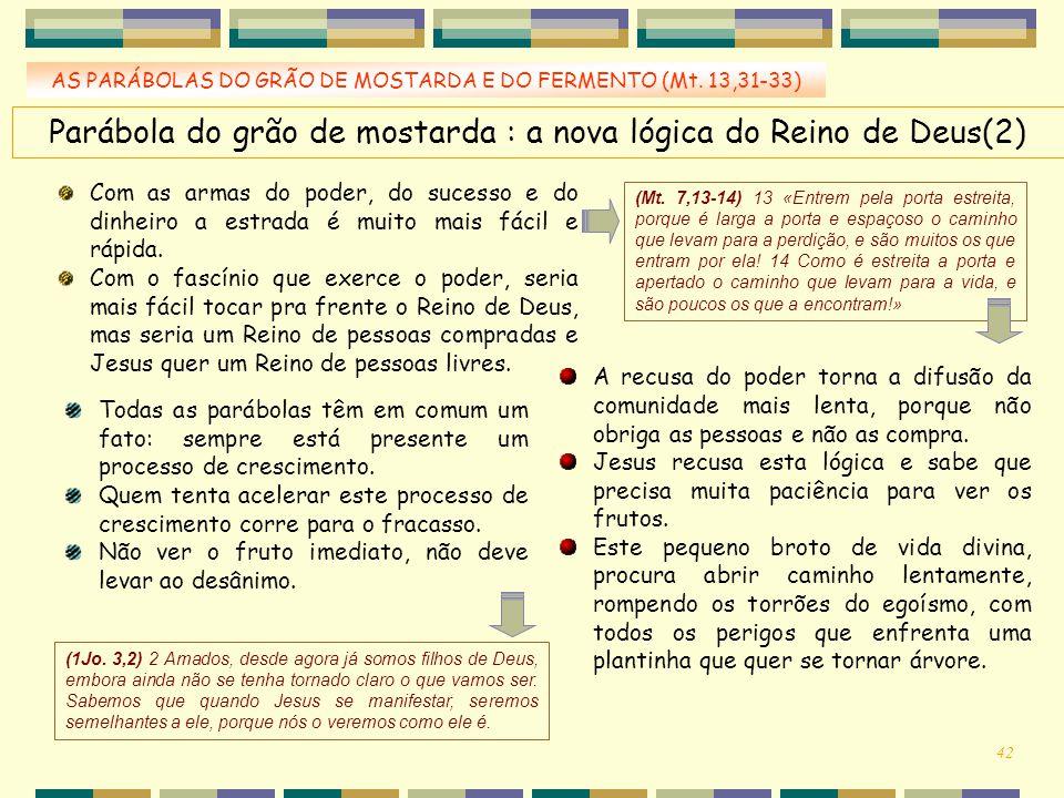 AS PARÁBOLAS DO GRÃO DE MOSTARDA E DO FERMENTO (Mt. 13,31-33) Parábola do grão de mostarda : a nova lógica do Reino de Deus(2) Com as armas do poder,