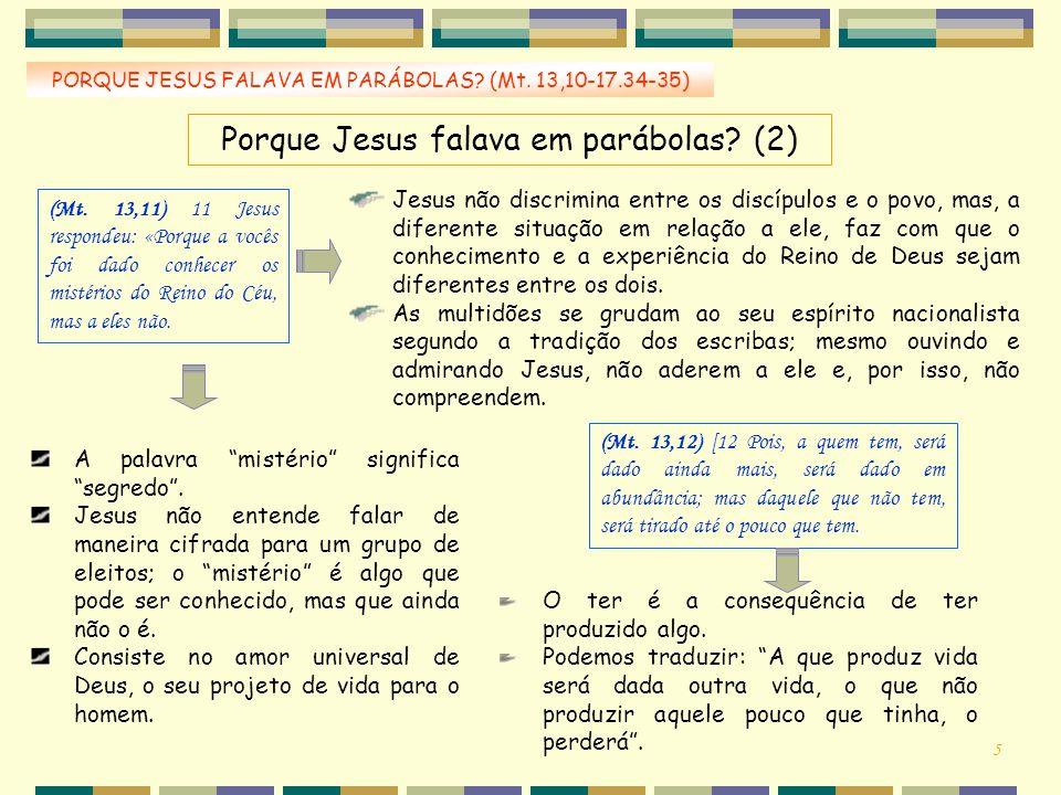 Porque Jesus falava em parábolas? (2) (Mt. 13,11) 11 Jesus respondeu: «Porque a vocês foi dado conhecer os mistérios do Reino do Céu, mas a eles não.