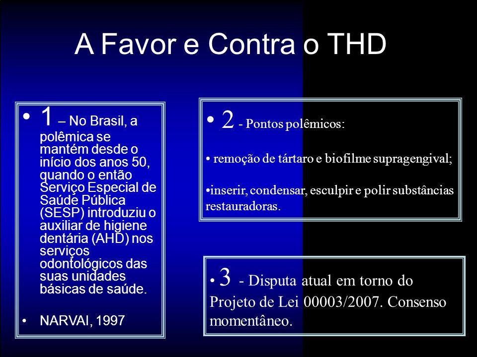 1 – No Brasil, a polêmica se mantém desde o início dos anos 50, quando o então Serviço Especial de Saúde Pública (SESP) introduziu o auxiliar de higie