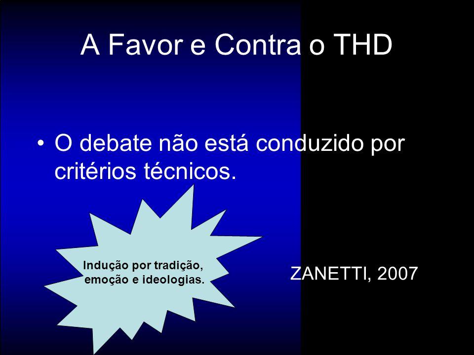 O debate não está conduzido por critérios técnicos. ZANETTI, 2007 A Favor e Contra o THD Indução por tradição, emoção e ideologias.