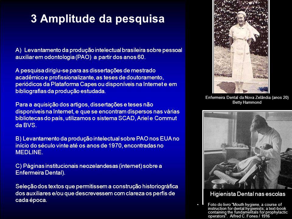3 Amplitude da pesquisa Enfermeira Dental da Nova Zelândia (anos 20) Betty Hammond A) Levantamento da produção intelectual brasileira sobre pessoal au