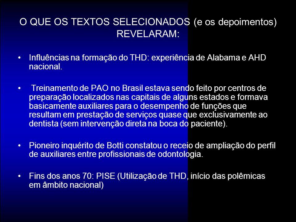 Influências na formação do THD: experiência de Alabama e AHD nacional. Treinamento de PAO no Brasil estava sendo feito por centros de preparação local