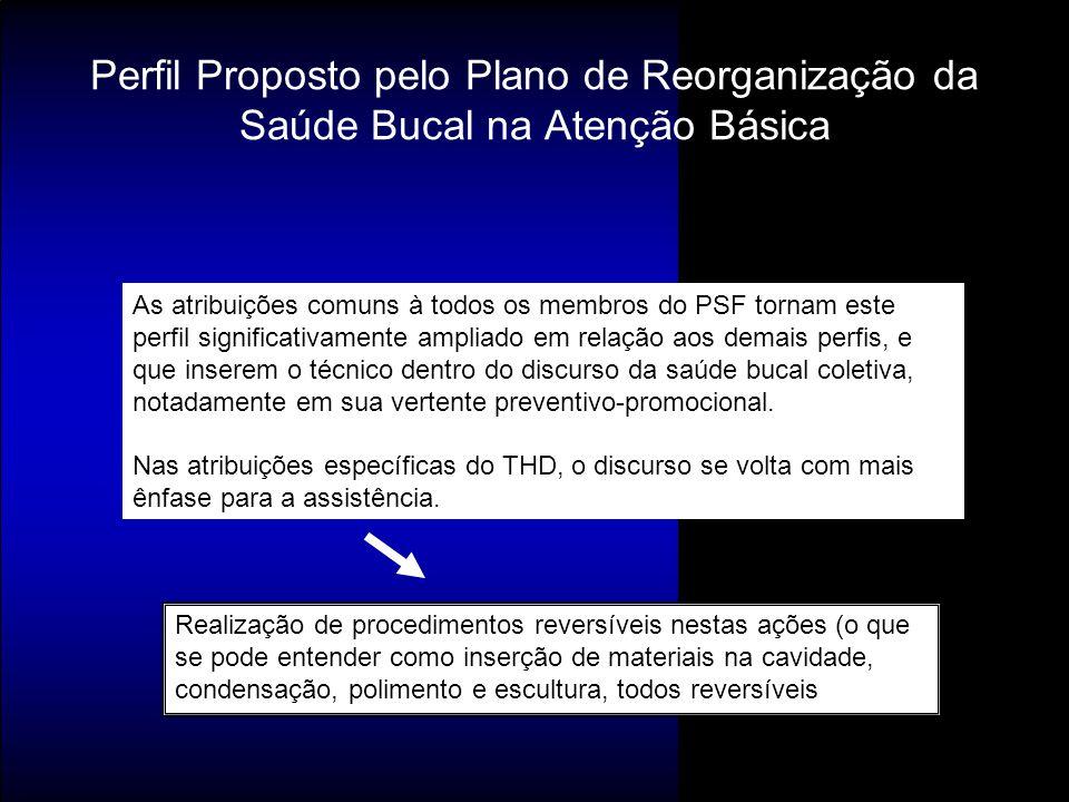 Perfil Proposto pelo Plano de Reorganização da Saúde Bucal na Atenção Básica As atribuições comuns à todos os membros do PSF tornam este perfil signif
