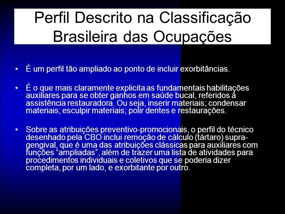 Perfil Descrito na Classificação Brasileira das Ocupações É um perfil tão ampliado ao ponto de incluir exorbitâncias. É o que mais claramente explicit