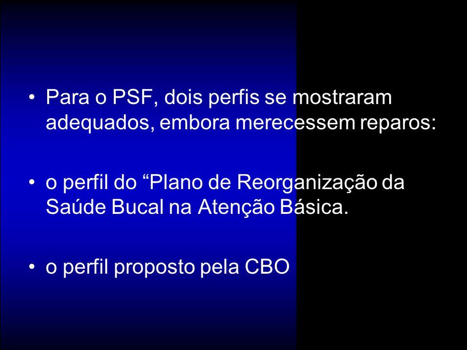 """Para o PSF, dois perfis se mostraram adequados, embora merecessem reparos: o perfil do """"Plano de Reorganização da Saúde Bucal na Atenção Básica. o per"""