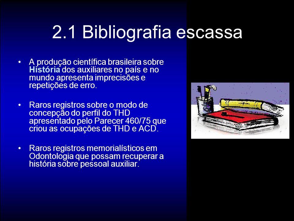 2.1 Bibliografia escassa A produção científica brasileira sobre História dos auxiliares no país e no mundo apresenta imprecisões e repetições de erro.