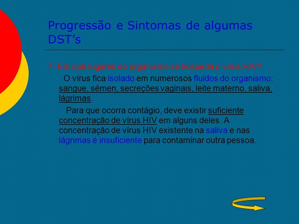 Progressão e Sintomas de algumas DST's 7- Em que lugares do organismo se hospeda o vírus HIV? O vírus fica isolado em numerosos fluidos do organismo: