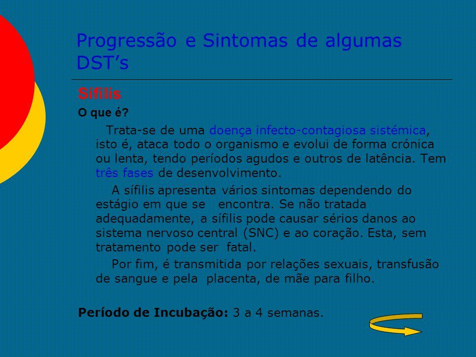 Progressão e Sintomas de algumas DST's Sífilis O que é? Trata-se de uma doença infecto-contagiosa sistémica, isto é, ataca todo o organismo e evolui d