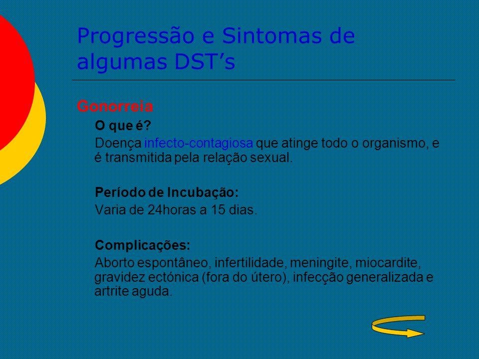 Progressão e Sintomas de algumas DST's Gonorreia O que é? Doença infecto-contagiosa que atinge todo o organismo, e é transmitida pela relação sexual.