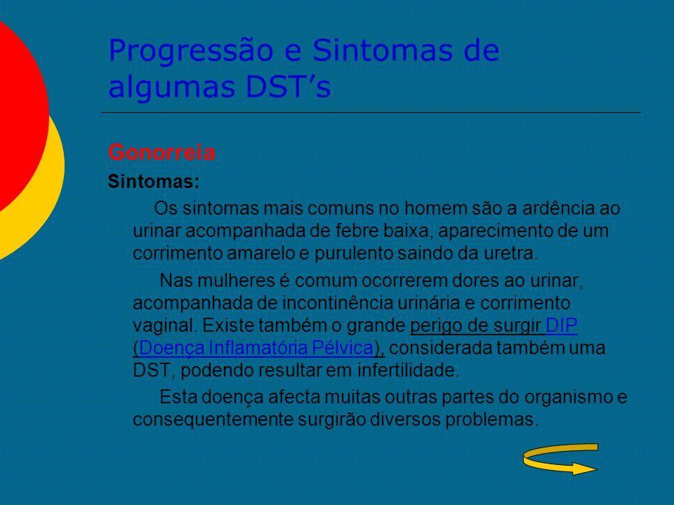 Progressão e Sintomas de algumas DST's Gonorreia Sintomas: Os sintomas mais comuns no homem são a ardência ao urinar acompanhada de febre baixa, apare