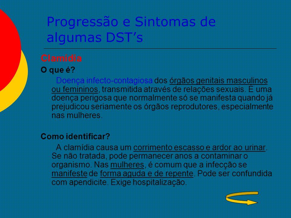Progressão e Sintomas de algumas DST's Clamídia O que é? Doença infecto-contagiosa dos órgãos genitais masculinos ou femininos, transmitida através de