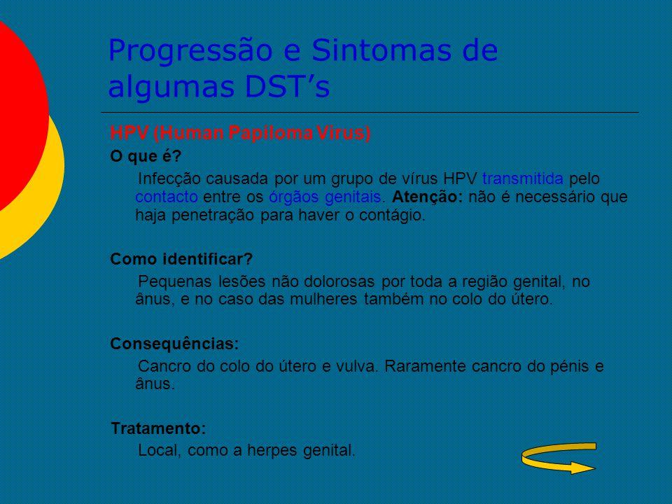 Progressão e Sintomas de algumas DST's HPV (Human Papiloma Virus) O que é? Infecção causada por um grupo de vírus HPV transmitida pelo contacto entre