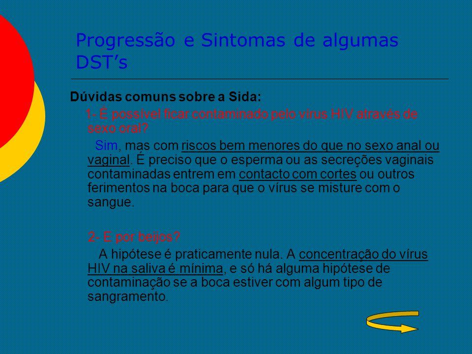 Progressão e Sintomas de algumas DST's Dúvidas comuns sobre a Sida: 1- É possível ficar contaminado pelo vírus HIV através de sexo oral? Sim, mas com