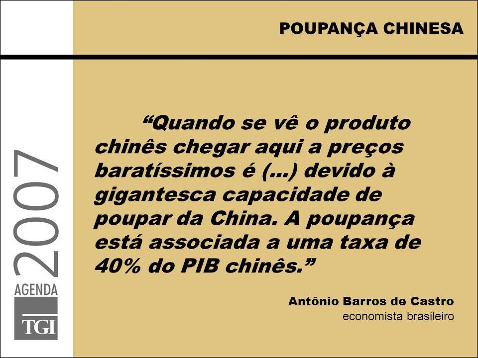 POUPANÇA CHINESA Quando se vê o produto chinês chegar aqui a preços baratíssimos é (...) devido à gigantesca capacidade de poupar da China.