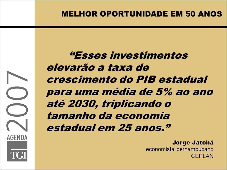 """""""Esses investimentos elevarão a taxa de crescimento do PIB estadual para uma média de 5% ao ano até 2030, triplicando o tamanho da economia estadual e"""