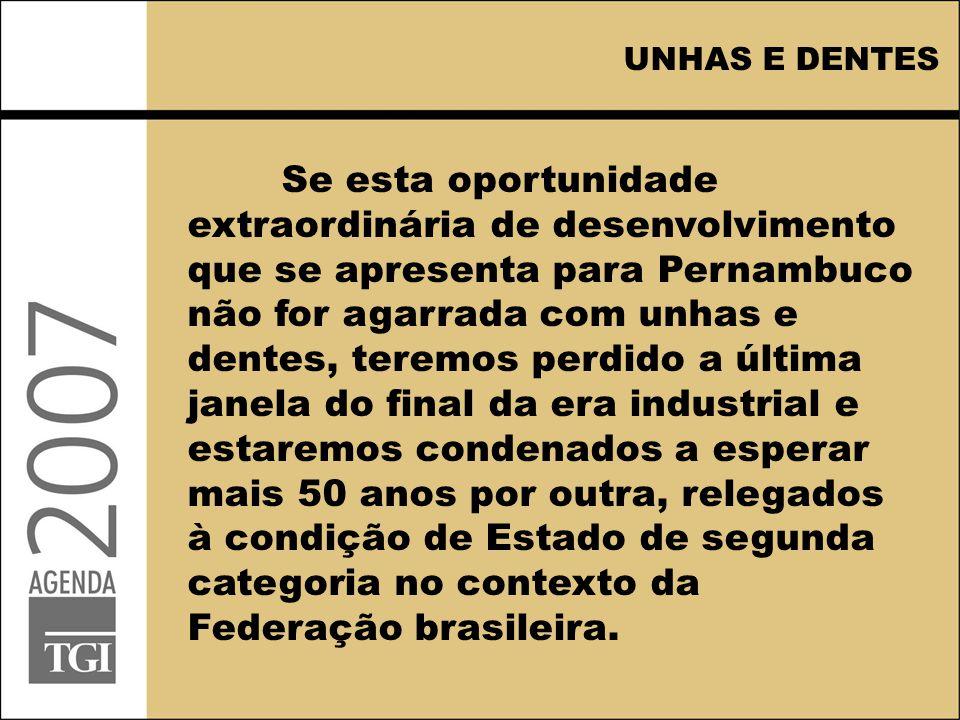UNHAS E DENTES Se esta oportunidade extraordinária de desenvolvimento que se apresenta para Pernambuco não for agarrada com unhas e dentes, teremos pe