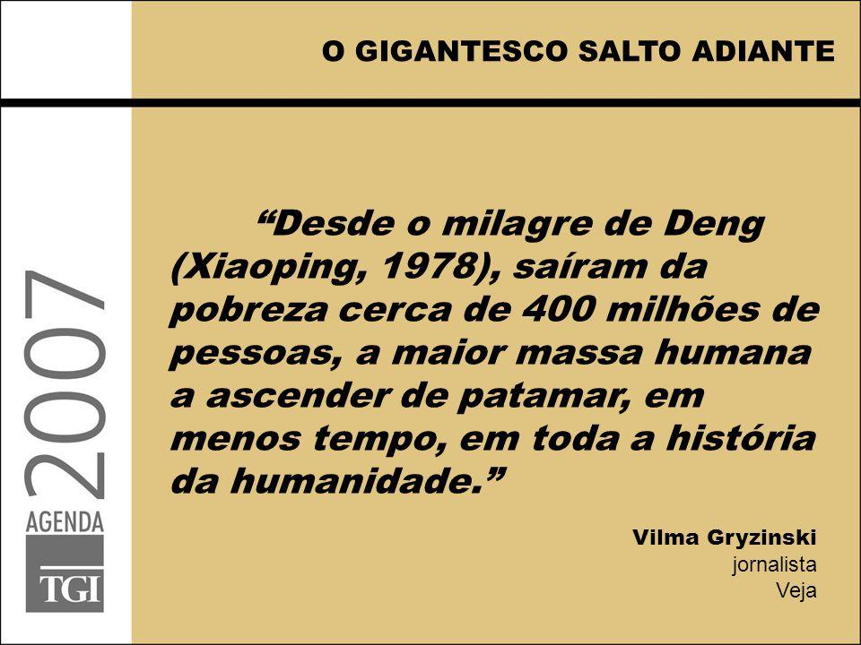 O GIGANTESCO SALTO ADIANTE Desde o milagre de Deng (Xiaoping, 1978), saíram da pobreza cerca de 400 milhões de pessoas, a maior massa humana a ascender de patamar, em menos tempo, em toda a história da humanidade. Vilma Gryzinski jornalista Veja