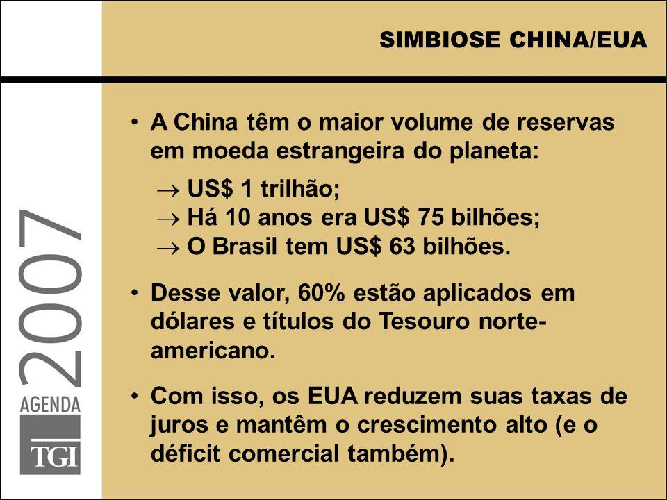 SIMBIOSE CHINA/EUA A China têm o maior volume de reservas em moeda estrangeira do planeta: Com isso, os EUA reduzem suas taxas de juros e mantêm o cre