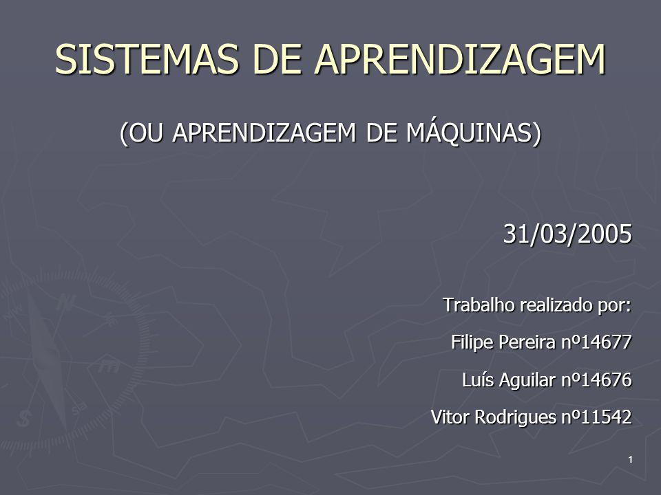 1 SISTEMAS DE APRENDIZAGEM (OU APRENDIZAGEM DE MÁQUINAS) 31/03/2005 Trabalho realizado por: Filipe Pereira nº14677 Luís Aguilar nº14676 Vitor Rodrigues nº11542